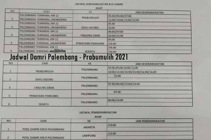 Jadwal Damri Palembang Prabumulih & Harga Tiket 2021 ...