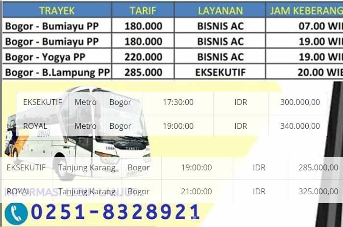 Harga Tiket Damri Lampung Bogor 2021