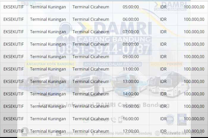 Jadwal Damri Kuningan Bandung