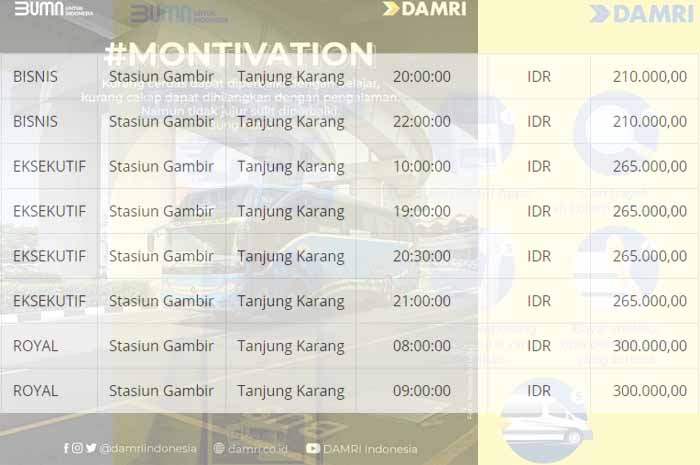 Jadwal dan Harga Tiket Damri Jakarta Lampung