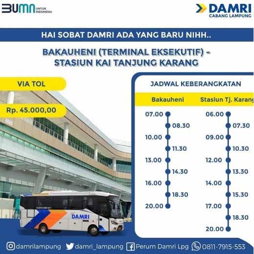 Damri Bakauheni – Stasiun KAI Tanjung Karang