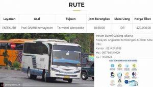 Harga Tiket Bus Damri Jakarta Wonosobo 2020