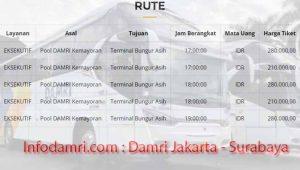 Harga Tiket Damri Jakarta Surabaya