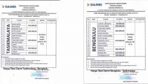 Harga Tiket Damri Tasikmalaya Bengkulu